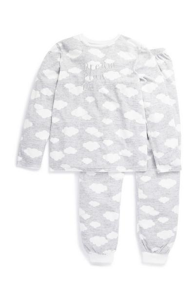 Older Girl Grey Cloud Pyjama Set