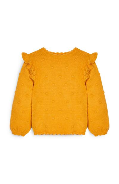 Girl's Mustard Pompom Sweater