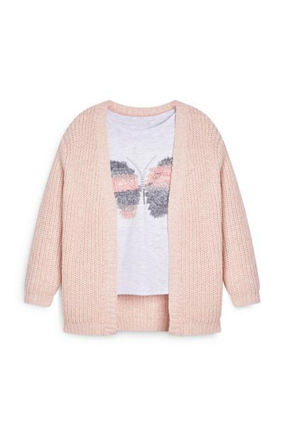 Ensemble cardigan et t-shirt rose fille