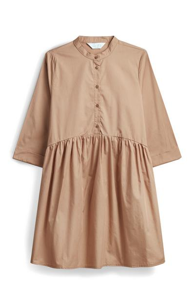 Khaki Poplin Shirt Dress