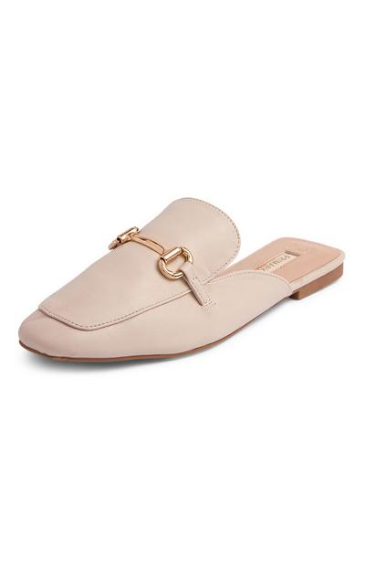 Beige Formal Loafer Mules