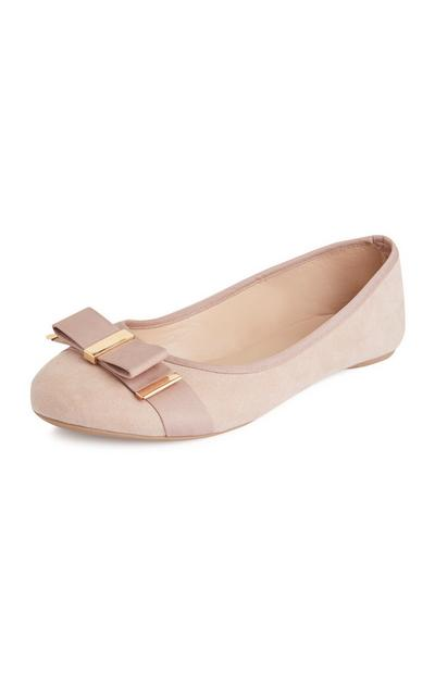 Beige Flat Bow Pumps