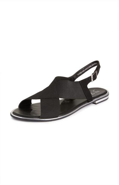 Black Elastic Cross Strap Sandals