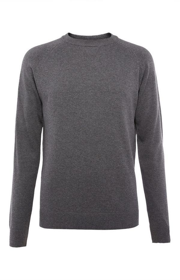 Grey Cotton Raglan Crew Neck Sweater