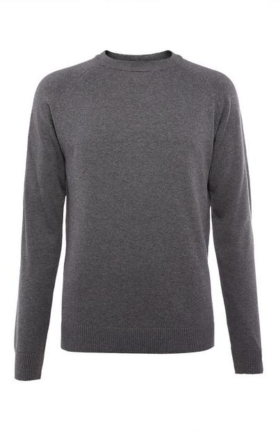 Gray Cotton Raglan Crew Neck Sweatshirt