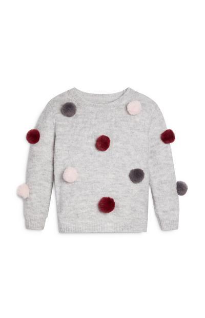 Grijze trui met pompon voor meisjes