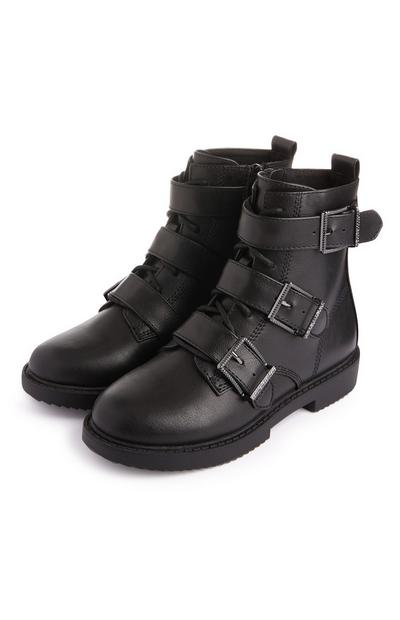 Older Girl 90's Black Buckle Boots