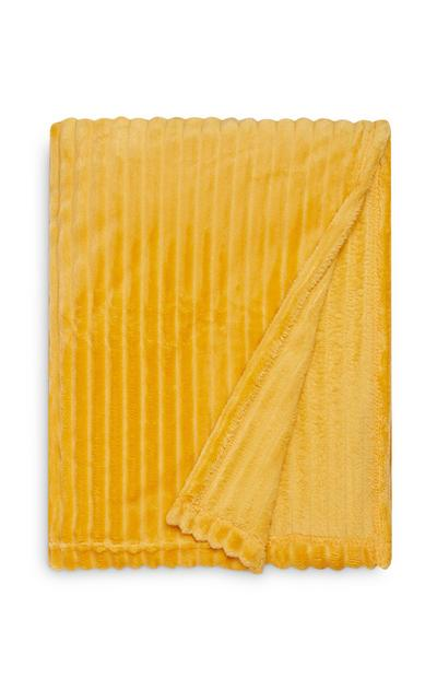 Yellow Large Soft Ribbed Throw