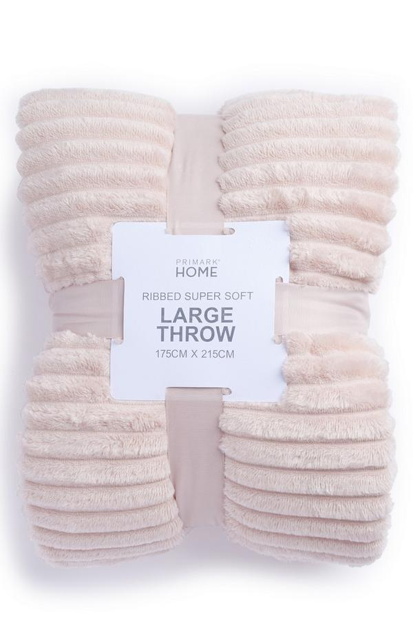 Pink Large Supersoft Ribbed Throw