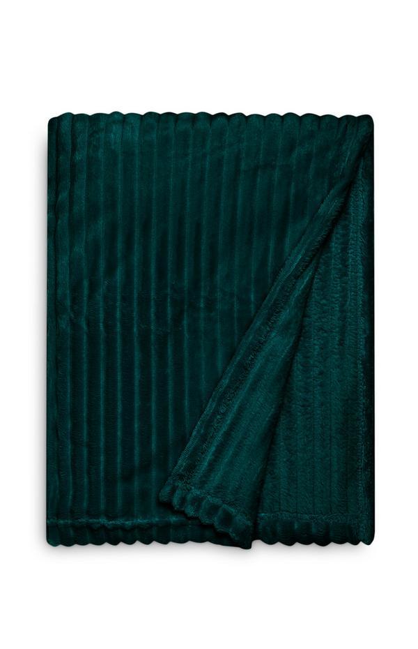 Manta canelada macia grande verde-escuro