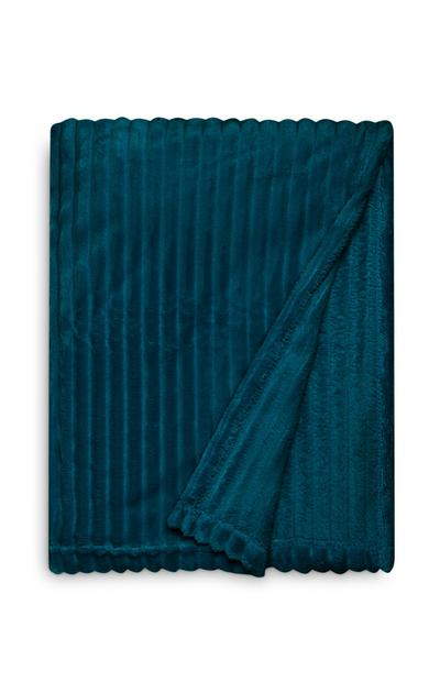 Teal Large Soft Ribbed Throw