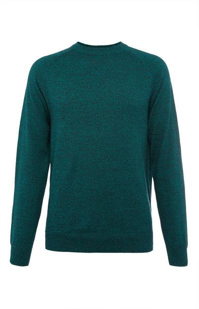 Teal Cotton Raglan Crew Neck Sweater