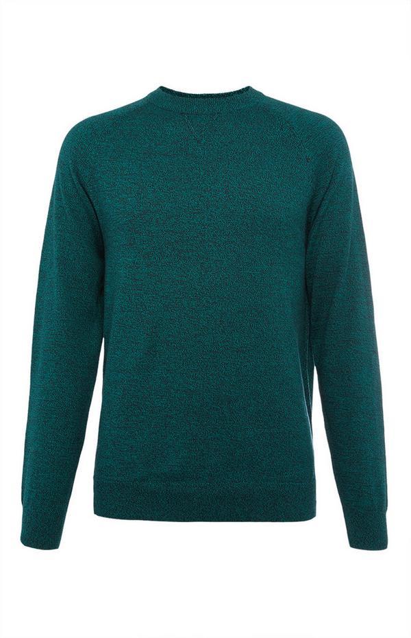 Teal Cotton Raglan Crew Neck Sweater