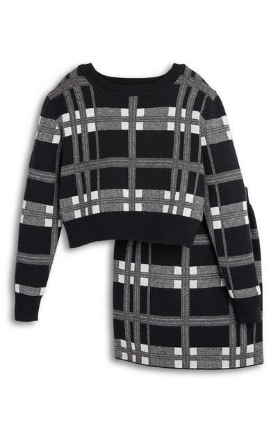 Ensemble jupe et pull à carreaux noir et blanc