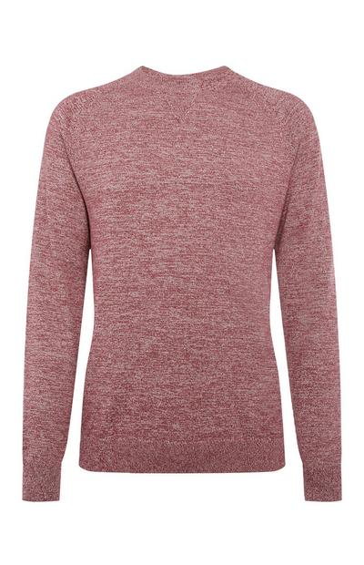 Red Cotton Raglan Crew Neck Sweater