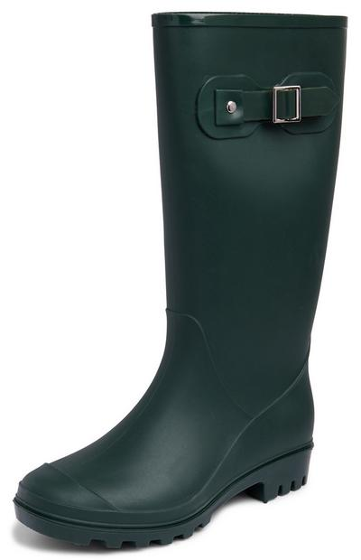 Dark Green Buckle Rain Boots