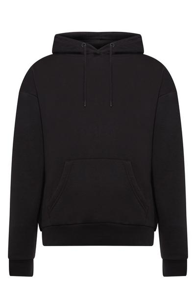 Sweat à capuche uni noir