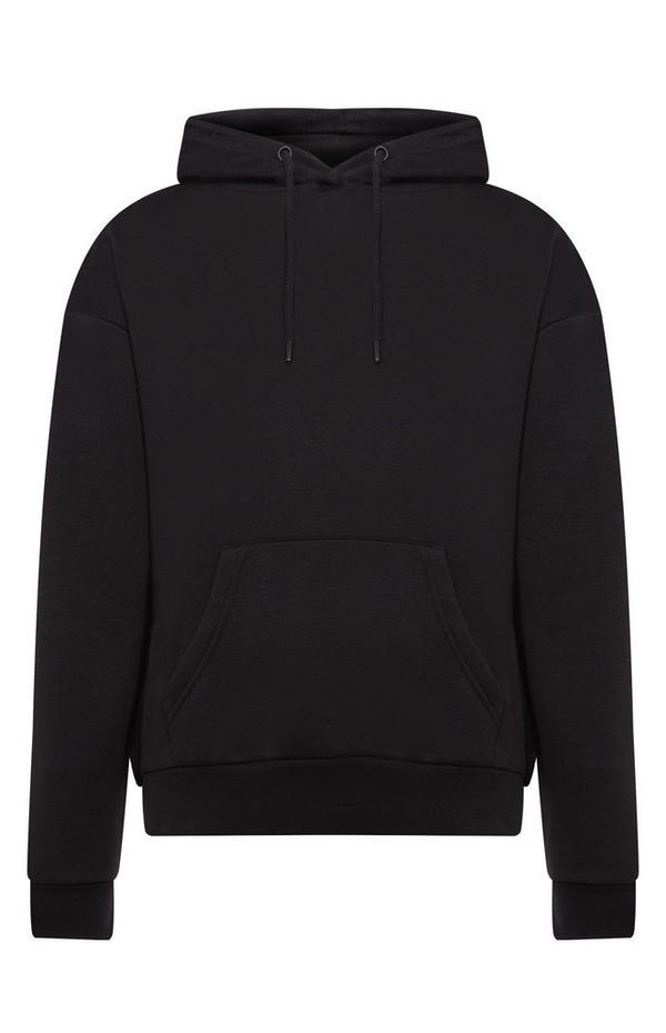 Sudadera lisa negra con capucha