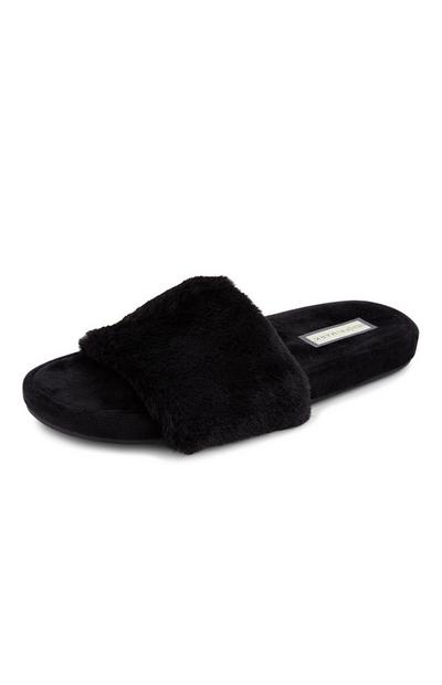 Black Faux Fur Slides