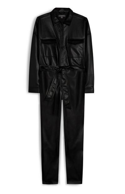 Black Vegan Faux Leather Utility Jumpsuit