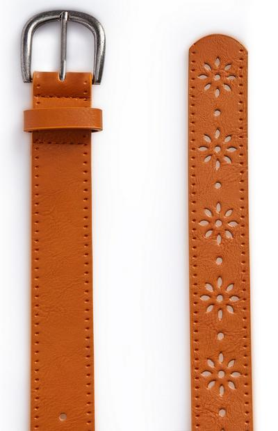 Brown Laser Cut Floral Jeans Belt