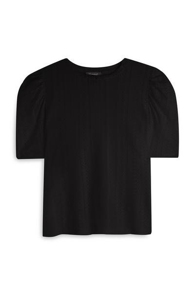 Črna čipkasta majica z nabranimi rokavi