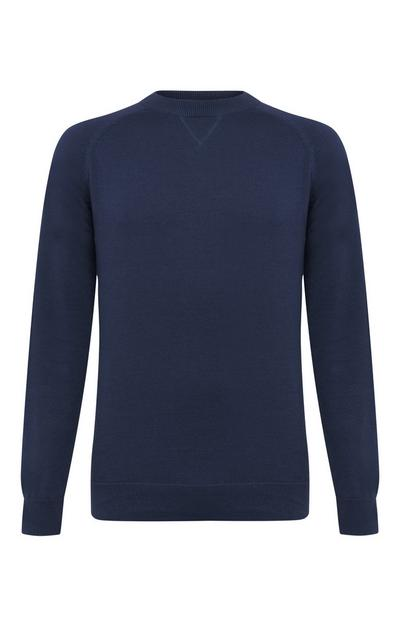 Navy Cotton Raglan Crew Neck Sweater