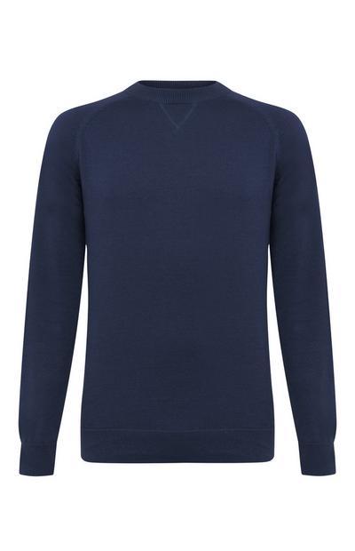 Camisola gola redonda raglã algodão azul-marinho