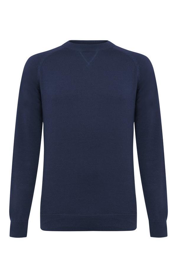 Pull bleu marine en coton à col ras du cou et manches raglan