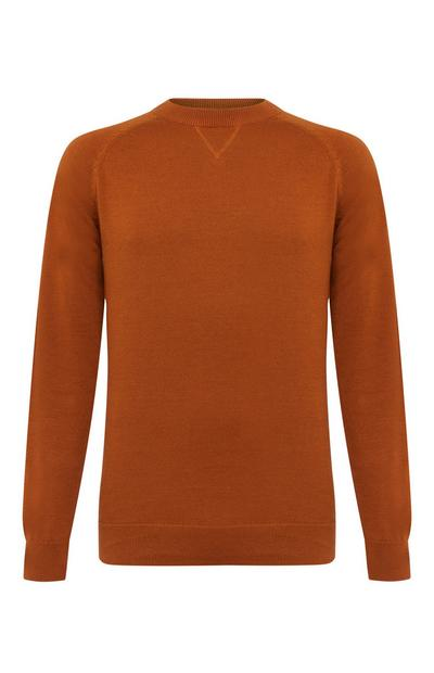 Terracotta Cotton Raglan Crew Neck Sweater