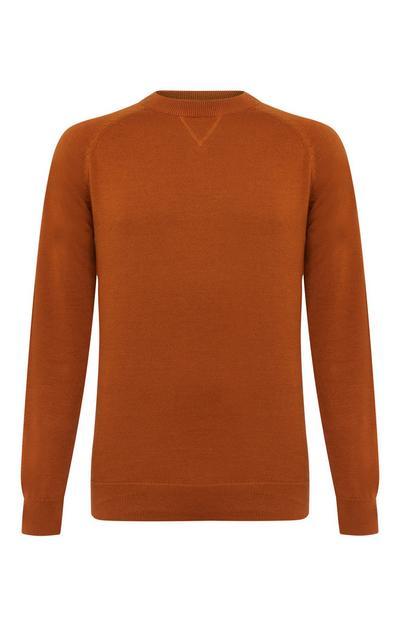 Jersey con cuello redondo y manga raglán de algodón de color terracota