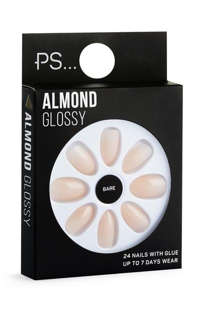 Almond Beige Glossy Stick On Nails