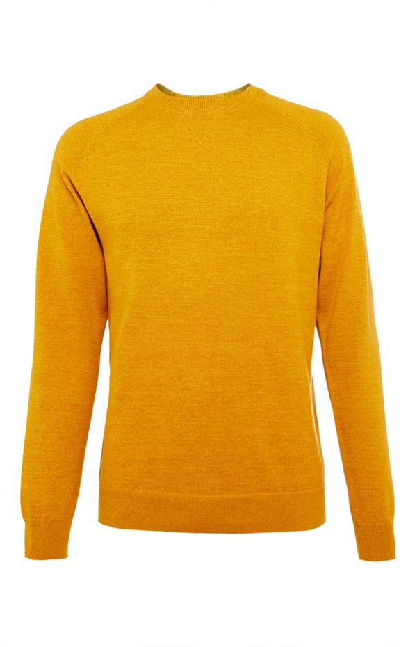 Pull en coton jaune moutarde ras-du-cou à manches raglan