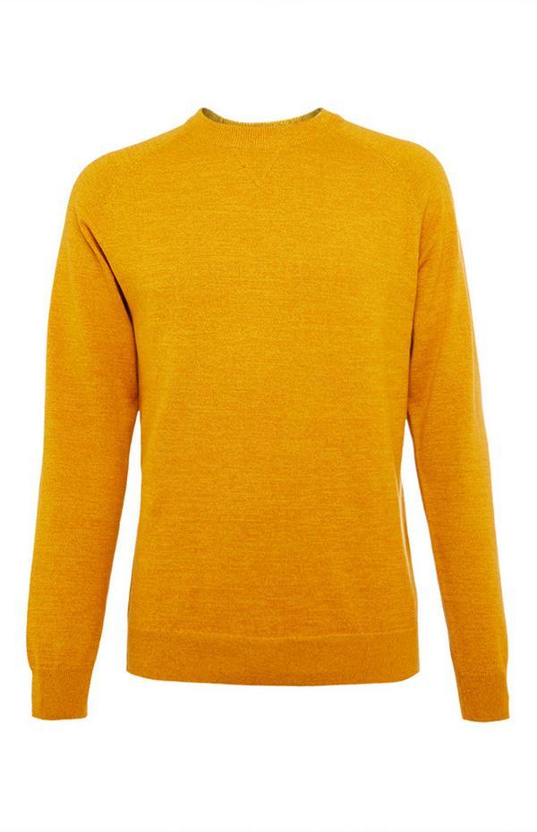 Mosterdgele katoenen raglan-sweater met ronde hals