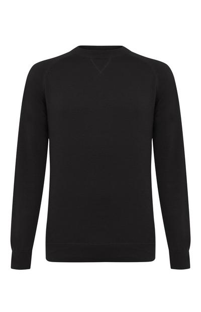Black Cotton Raglan Crew Neck Sweater