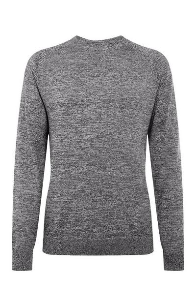 Grey Cotton Raglan Crew Neck Sweater