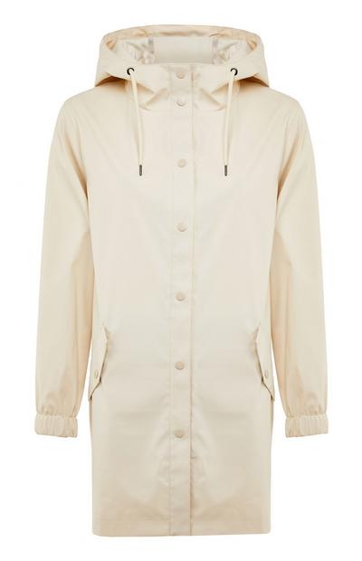 Cream Rubber Button Up Raincoat