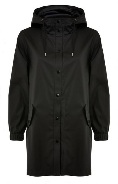 Black Rubber Button Up Raincoat