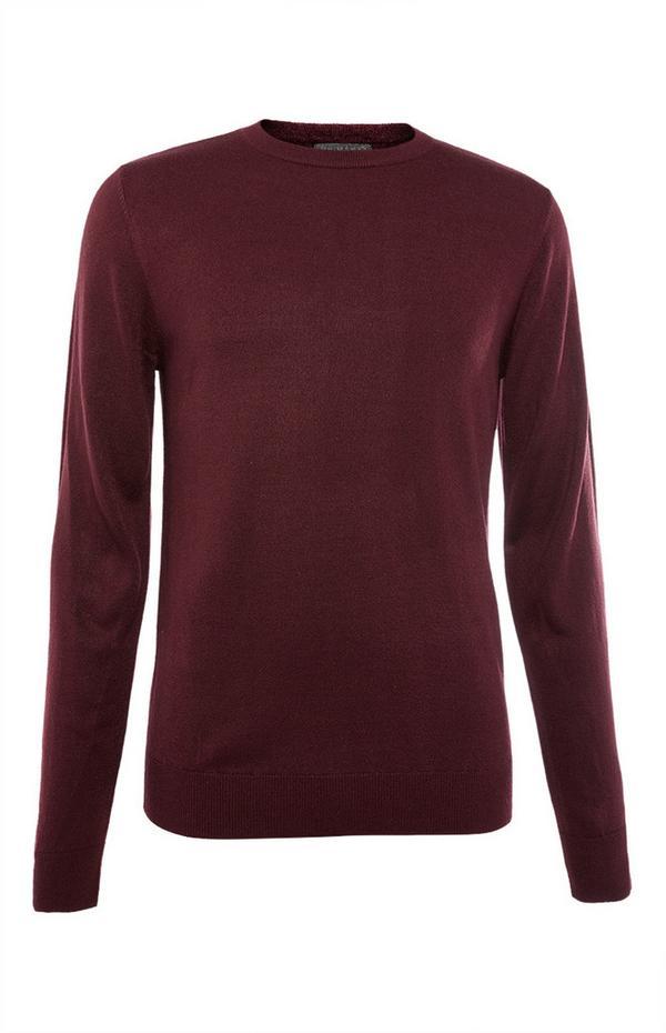 Vinsko rdeč enobarven akrilni pulover