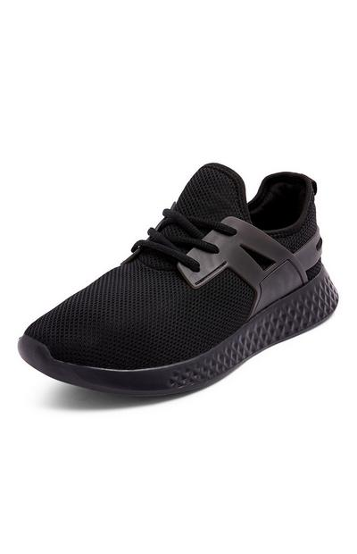 Black Knit Cage Trainers