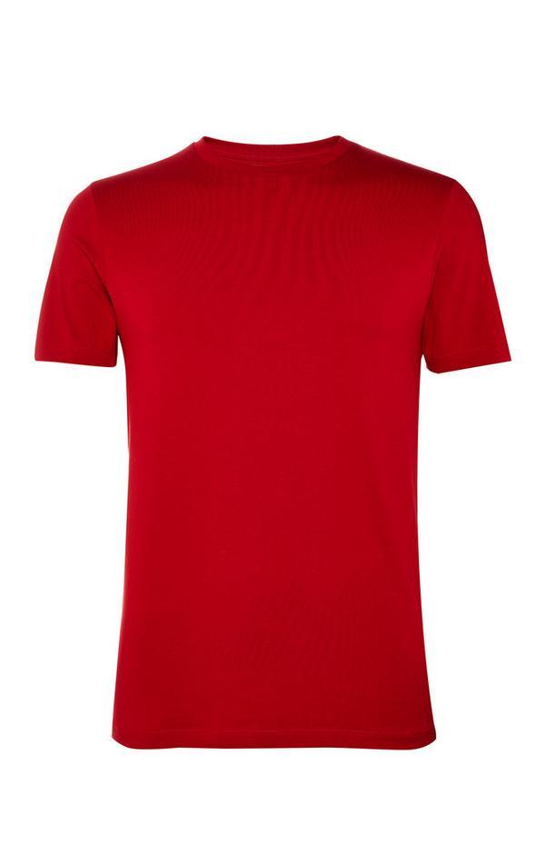Rotes, figurbetontes Rundhals-T-Shirt
