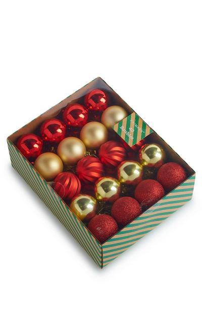 Pack 40 bolas vermelho/dourado