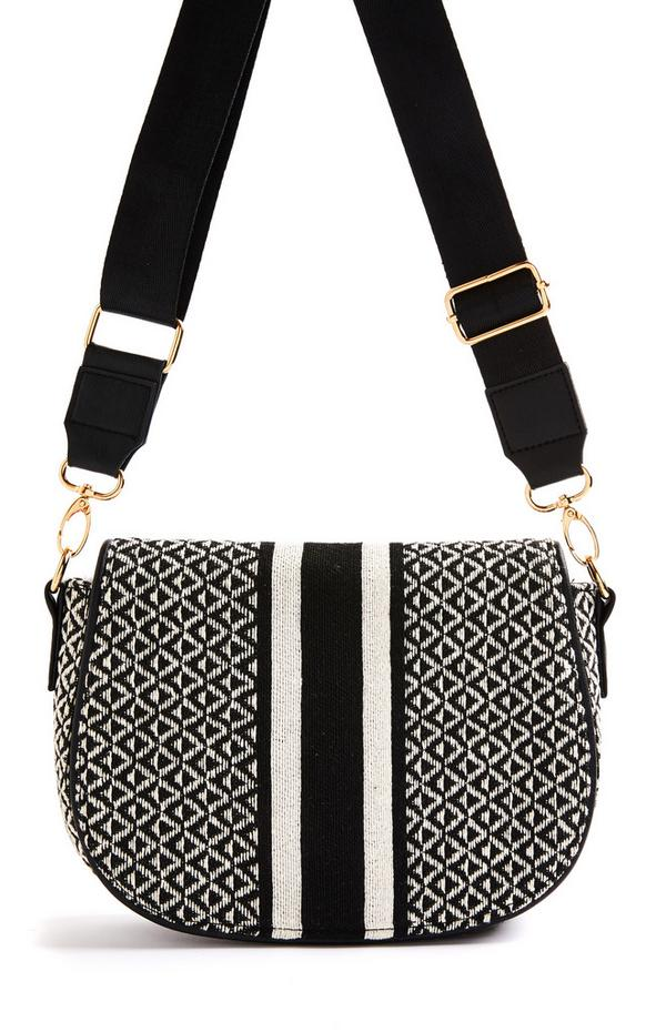 Black Jacquard Saddle Crossbody Bag