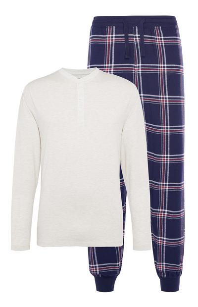 White/Navy Classic Check Flannel Pajama Set
