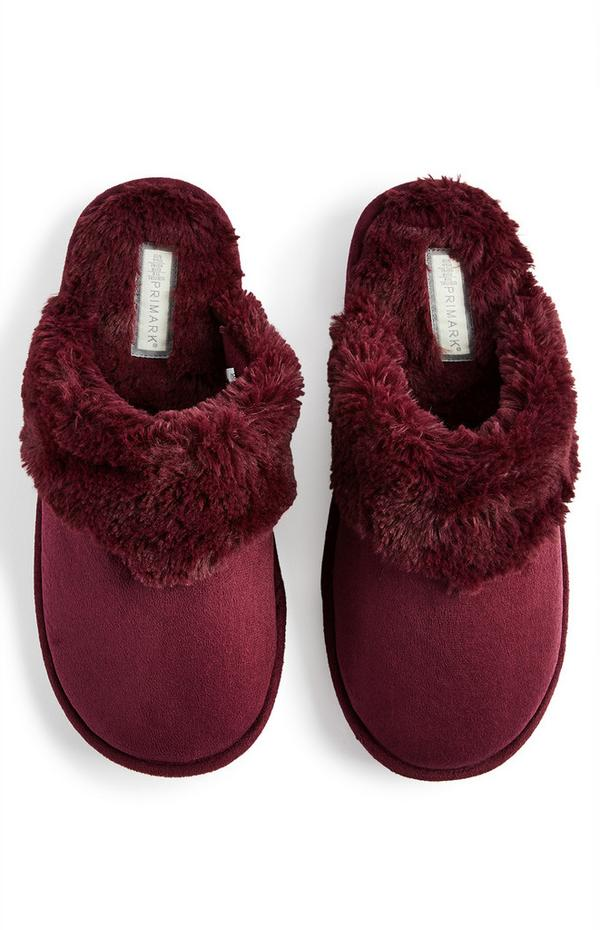 Burgundy Faux Suede Mules