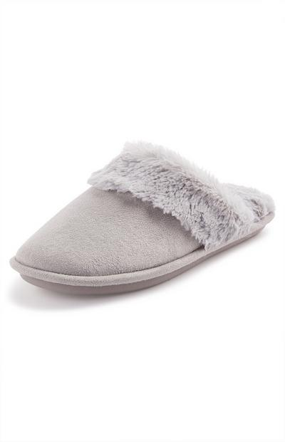 Gray Faux Suede Mule Slippers