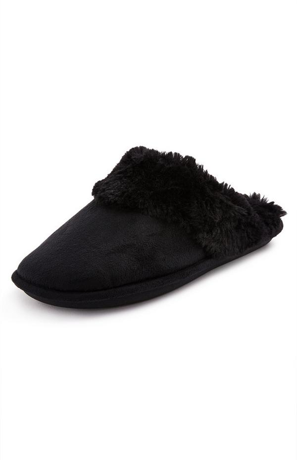 Black Imitation Faux Suede Mule Slippers