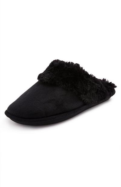 Black Imitation Faux Suede Mule Slippers