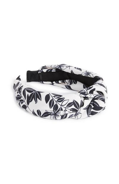Monochrome Leaf Print Headband