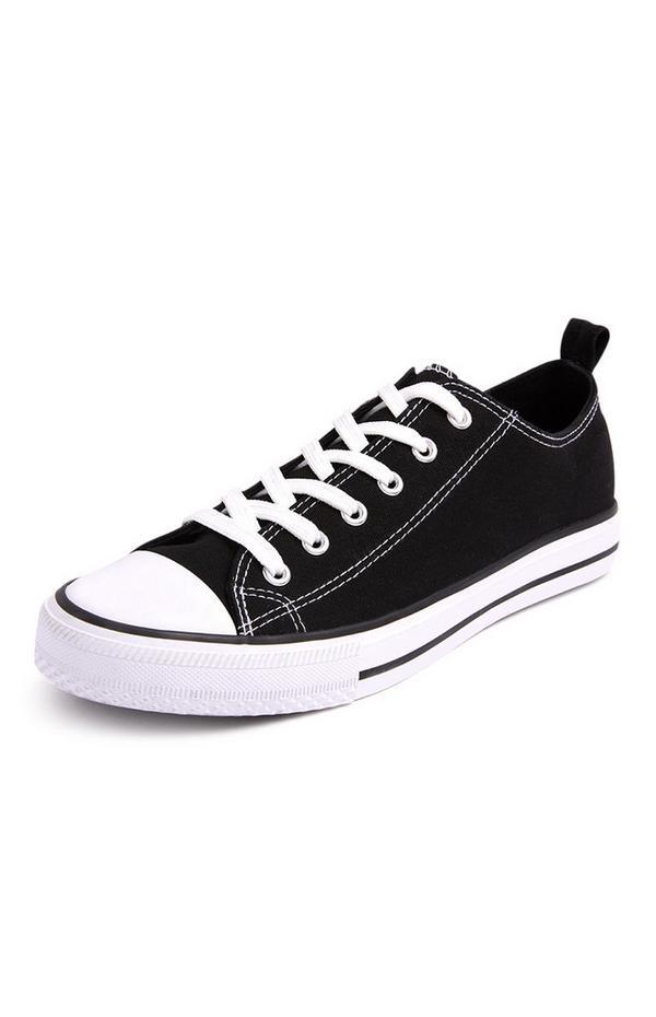 Zapatillas clásicas negras de lona de caña baja